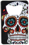 "Steel 3.75"" Day of the Dead Sugar Skull Graphic Credit Card Bottle Opener"