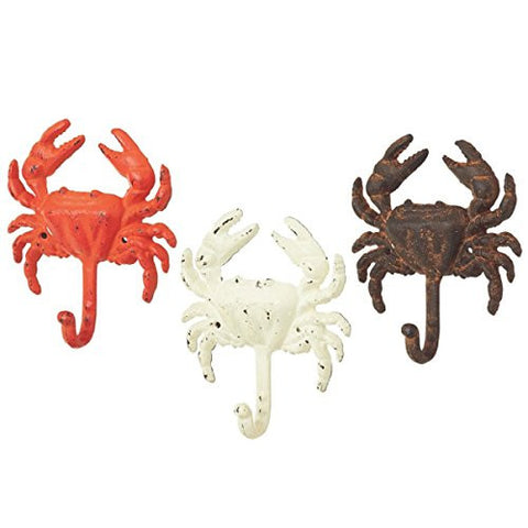 Crab Wall Hooks - Set of 3 - Antique Weathered Hangers for Coats, Aprons, Hats, Towels, Pot Holders, More
