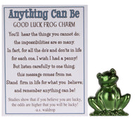 Anything Can Be Inspirational Zinc Good Luck Frog Charm With Story Card