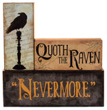 "Halloween Decoration -  Quoth The Raven ""Nevermore"" Stacking Block 3 Piece Set"