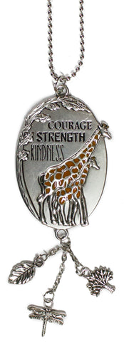 Courage Strength Kindness Giraffe Car Charm With Dangles