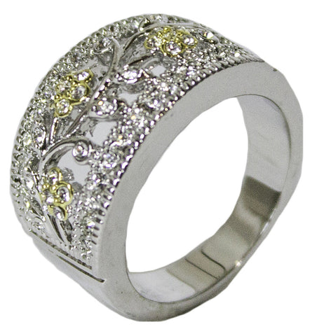 Women's Rhodium Plated Dress Ring Two Tone Austrian Crystal 056