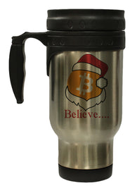 "Bitcoin Logo W/ Santa Hat ""Believe"" 12 Ounce Hot/ Cold Travel Coffee Mug (Stainless)"