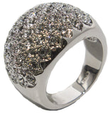 Women's Rhodium Plated Dress Ring Round Cut CZ Clusters 023