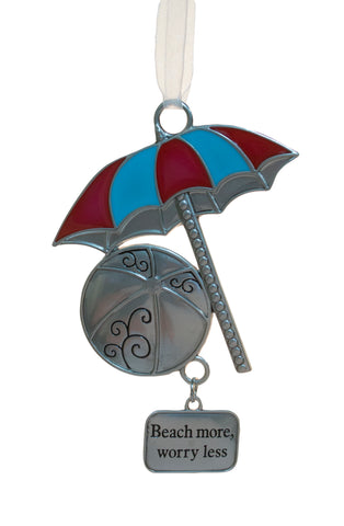 Fun In The Sun Zinc Ornament -Beach Umbrella (Beach more, worry less)
