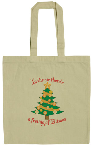 Bitcoin Christmas Tree Feeling Of Bitmas 15 Inch Canvas Tote Bag