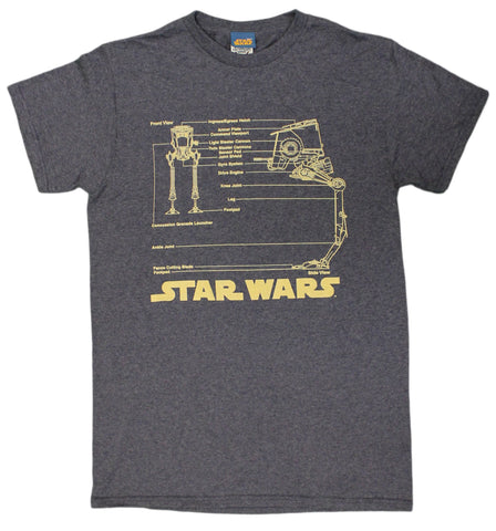 Men's Disney Star Wars Schematics AT-AT Imperial Walker T-Shirt