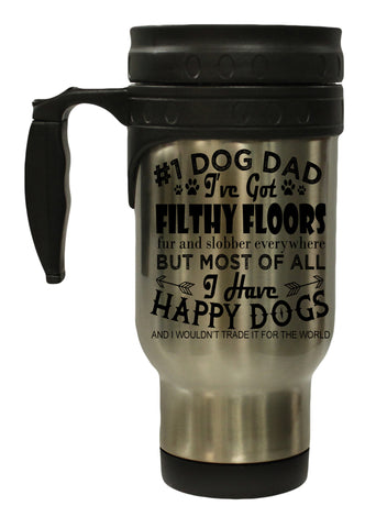 Dog Lovers #1 Dog Dad 12 Oz Stainless Steel Hot/ Cold Travel Mug
