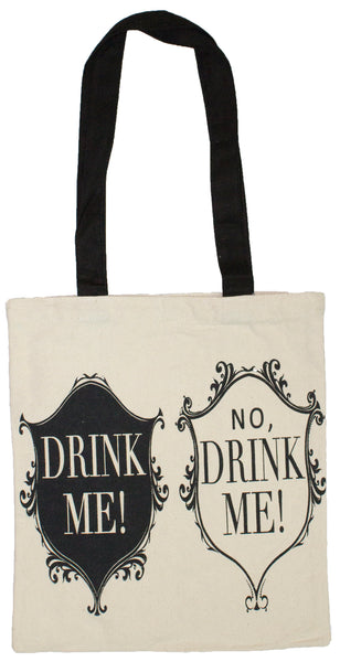 2 Bottle Wine Tote Bag- Drink Me, No Drink Me