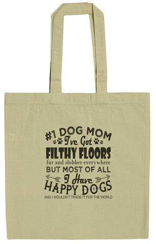 Dog Lovers #1 Dog Mom 15 Inch Canvas Tote Bag