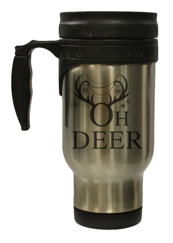 Oh Deer Antlers and Ornaments Stainless 12 oz Hot Cold Travel Mug