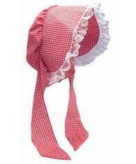 Adult Gingham Red & White Bonnet Costume Hat