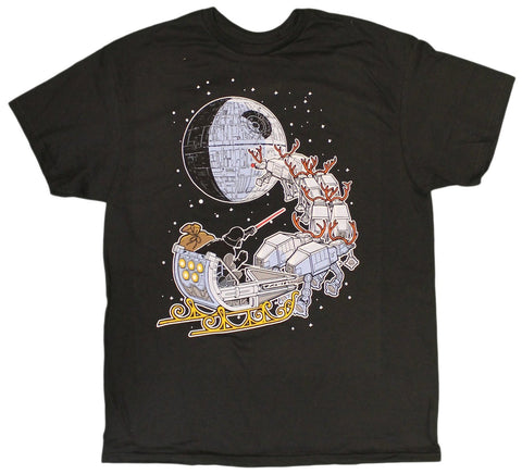 Men's Disney Star Wars Yoda Darth Vader Sleigh Deathstar Christmas T-Shirt