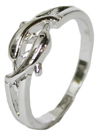 Women's Rhodium Plated Dress Ring Interlocking Dolphins 052