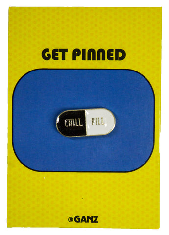 Get Pinned Lapel/ Hat Pin/ Tie Tack w/ colorful enamel -Chill Pill