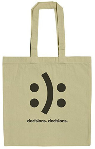 Decisions Decisions Happy Sad Face Funny HTML Humor 15 Inch Canvas Tote Bag