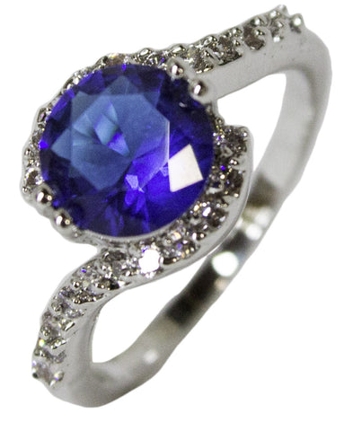 Women's Rhodium Plated Dress Ring Synthetic Sapphire and CZ 038