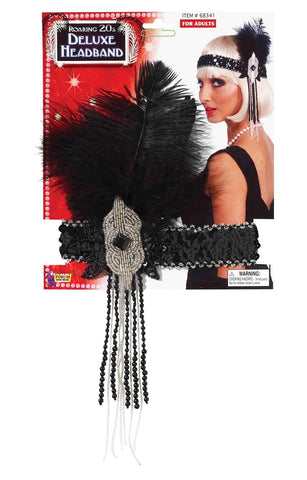 Forum Novelties Roaring 20's Deluxe Black and Silver Flapper Headband