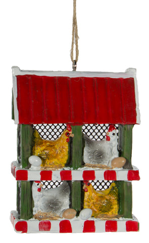 Chicken Lovers Chicken Coop Christmas/ Everyday Ornament