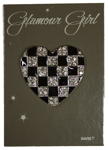Glamour Girl Bling Pin - High Quality Fashion Pin w/ Rhinestones -Checkered Heart