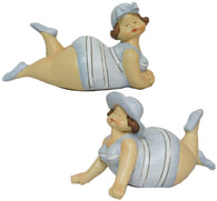 Funny Nautical Decoration - Set of 2 Chubby Beach Ladies Figures