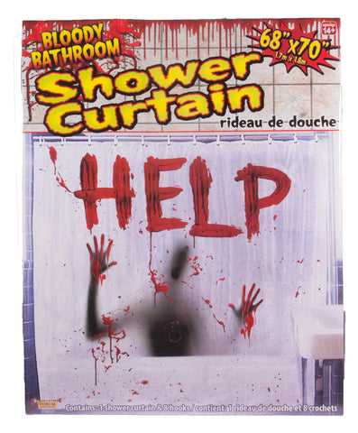 Halloween Décor - Bloody Shower Curtain w/ Help Written In Blood!