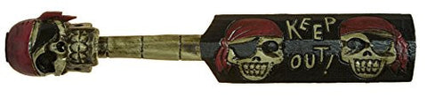 Hand Carved Hand Painted 23 Inch Jolly Roger Pirate Keep Out Paddle