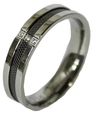 Men's Stainless Steel Dress Ring Mesh and CZ Channel Band 063