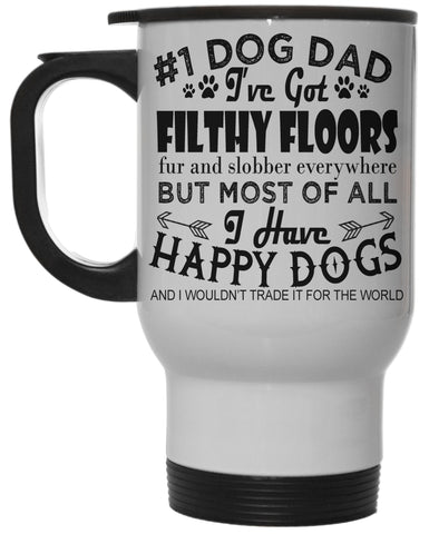 Dog Lovers #1 Dog Dad 12 Oz White Steel Hot/Cold Travel Mug