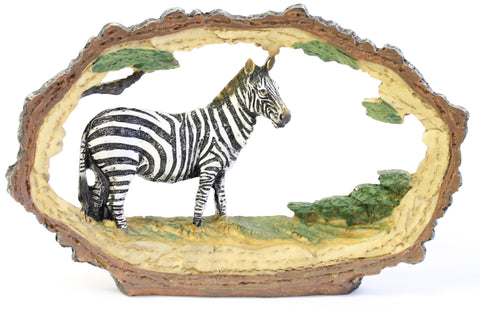 7 Inch by 5 Inch Tall 3 Dimensional Resin Zebra Inside Tree Bark Figurine
