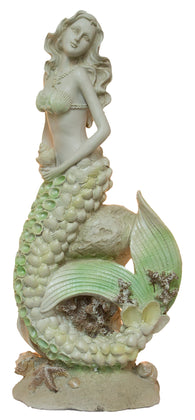 Elegant Nautical Decoration - 20 Inch Mermaid On Rock Statue
