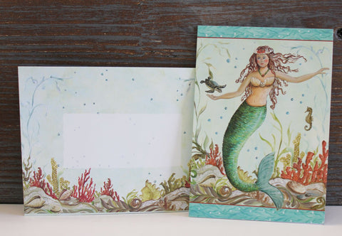10 Boxed Mermaid Hideaway Note or Thank You Cards and 10 Matching Envelopes