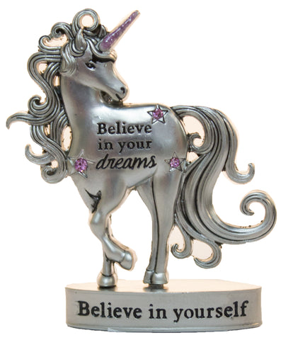 2 Inch Inspirational Unicorn Figurine With Sparkle Rhinestones- Believe in your dreams