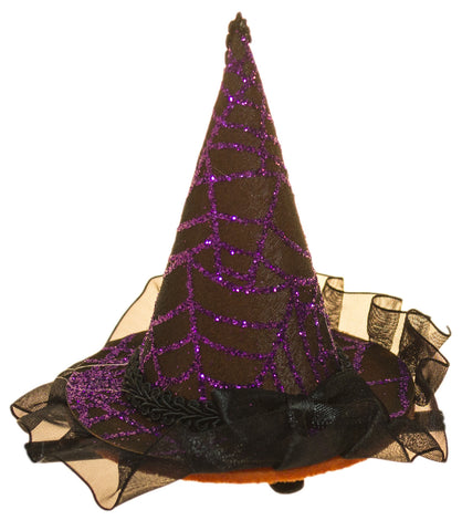 Halloween Costume Accessory- 4 Inch Witch Hat Hair Clip with Lace