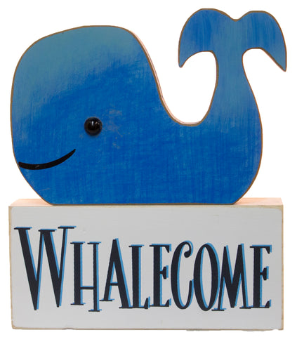 "2 Piece Wood Block Set w/ Whale ""Whalecome"""