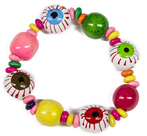 Eye See You Hand Painted Wood Bead Stretch Bracelet