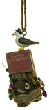 3.5 Inch Merry Christmas Seagull on Piling with Lights Christmas Ornament