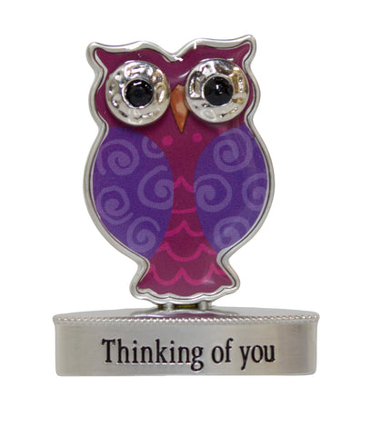 2 Inch Happy Little Owl Figurine W/ Colorful Enamel - Thinking Of You