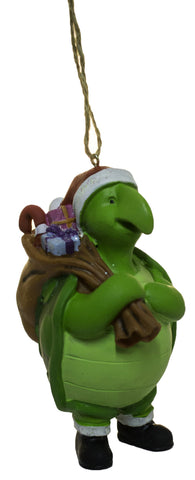 3.5 Inch Turtle Santa with Gifts Christmas Ornament