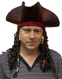 Deluxe Men's Pirate Hat With Attached Dreadlocks Beads Caribbean Tricorn Brown