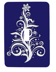 White Snow Christmas Tree Single Toggle Holiday Metal Light Switch Cover