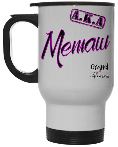 "Grand Aliases Series Grandmother ""A.K.A. Memaw"" 12 Ounce Hot/ Cold White Travel Coffee Mug"