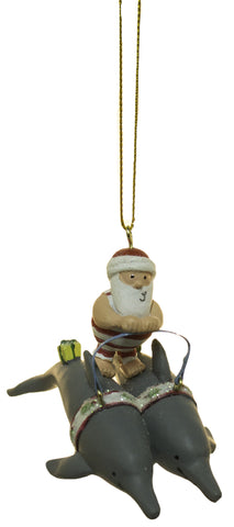 3.75 Inch Dolphins Pulling Santa Christmas Ornament