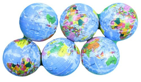 4 Inch Foam Stress Earth Globe Balls Lot of 6 Pieces (Great for classrooms!)