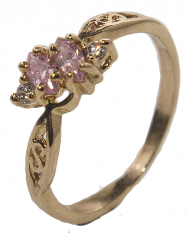 Women's 18 Kt Gold Plated Dress Ring Pink and White Marquise CZ 014