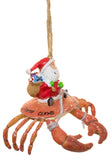 "Funny Nautical Christmas Ornament - Santa Riding Crab ""Santa Claws"""