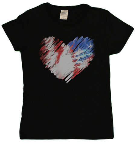 Ladies 4th Of July Patriotic Hand Over USA Flag Heart Distressed T-Shirt