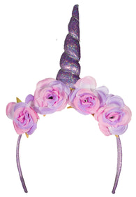 Costume Accessory - Sparkly Unicorn Horn Headband with Flowers