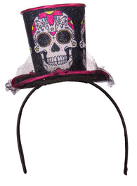 Costume Accessory - Day Of The Dead Top Hat Headband w/ Sparkles and Lace