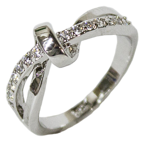 Women's Rhodium Plated Dress Ring CZ Knot Band 108